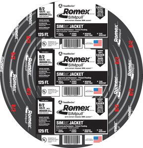 125\' Black 8/2 CU NM-B W/G 40Amp Romex Wire (Price Per Foot ...