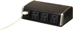 3 Outlet 15 Amp Surge Protected Desktop Power Center With
