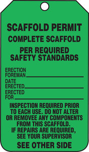 5 3 4 lx3 1 4 w black green cardstock scaffold permit waterproof scaffold tag fastenal. Black Bedroom Furniture Sets. Home Design Ideas