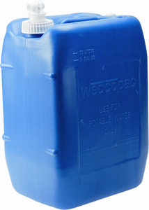 compliance 5 gallon blue plastic wedcotainer water jug